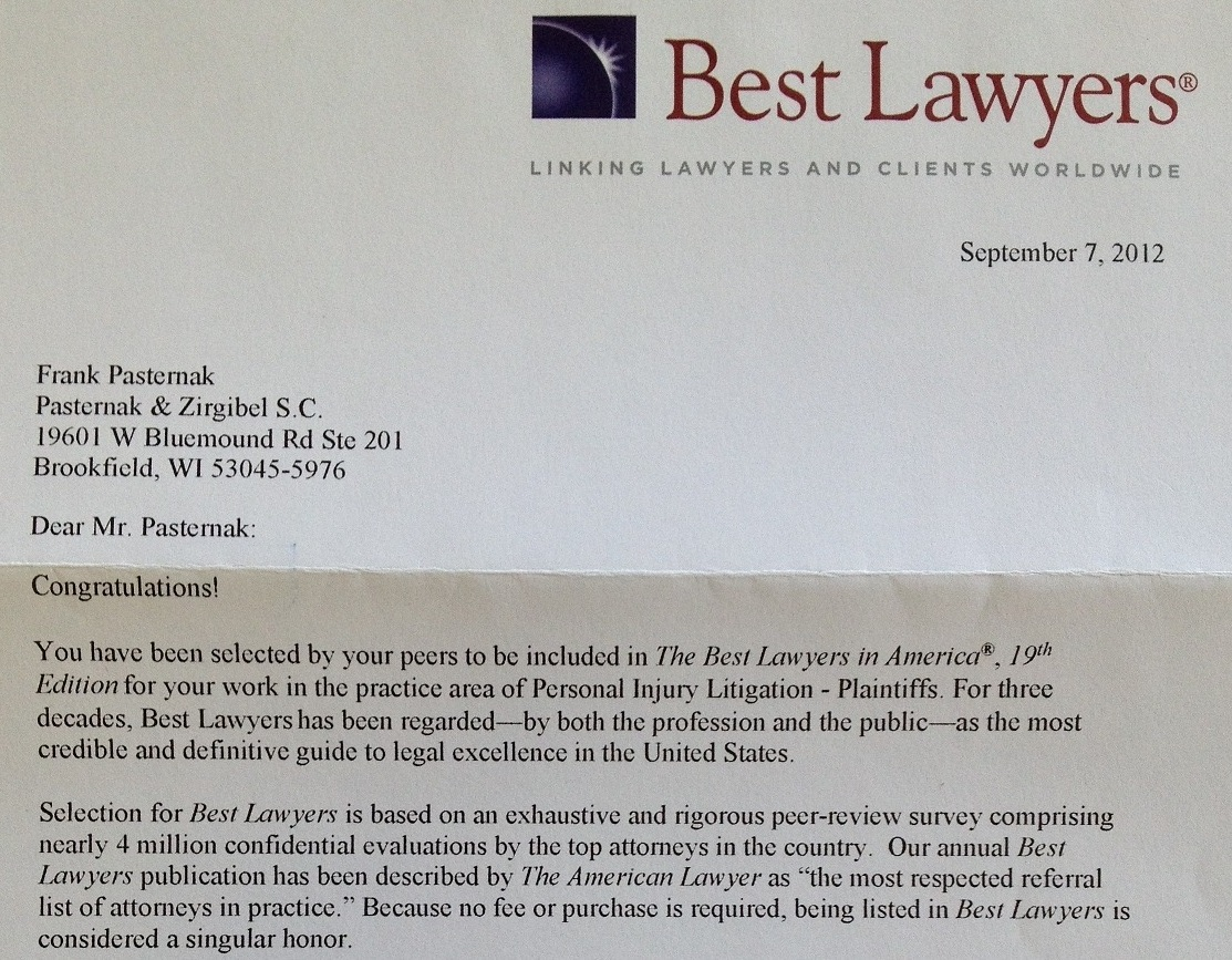 The Best Lawyers in America Letter - Asbestos Wisconsin